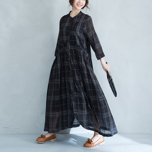 Lattice Irregular Women Casual Linen Loose Black Shirt Dress - Buykud