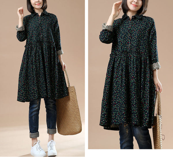 Autumn Green Long Sleeve Floral Retro Big Swing Dress