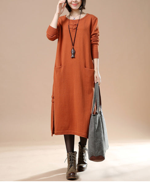 Autumn New Female Long Sleeve Round Neck Plate Buttons Pocket Sweater Orange