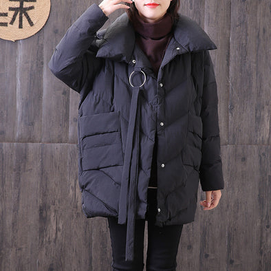 Polo Collar Long Sleeve Women Polyester Single Breasted Coat - Buykud