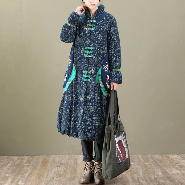 Thick Retro Printing Ethnic Frogs Long Sleeves Navy Blue Women Coat