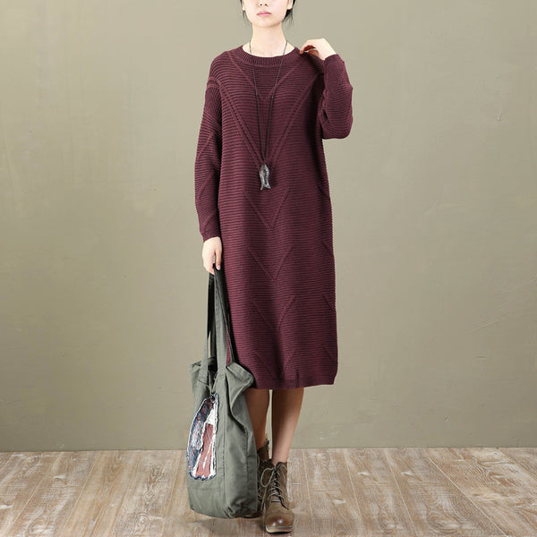 Casual Loose Round Neck Long Sleeve Winter Dresses For Women - Buykud