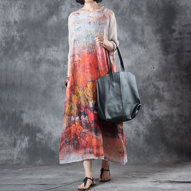 Women Printed Half Sleeve Maxi Dress