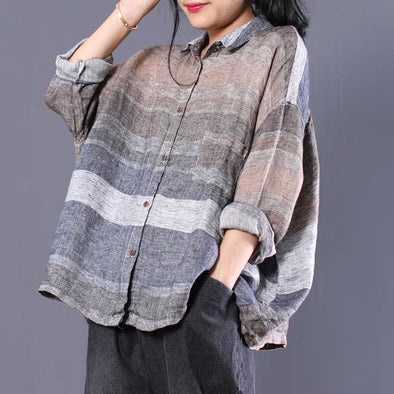Women's Fall Long Sleeve Polo Neck Striped Batwing Sleeve Shirt