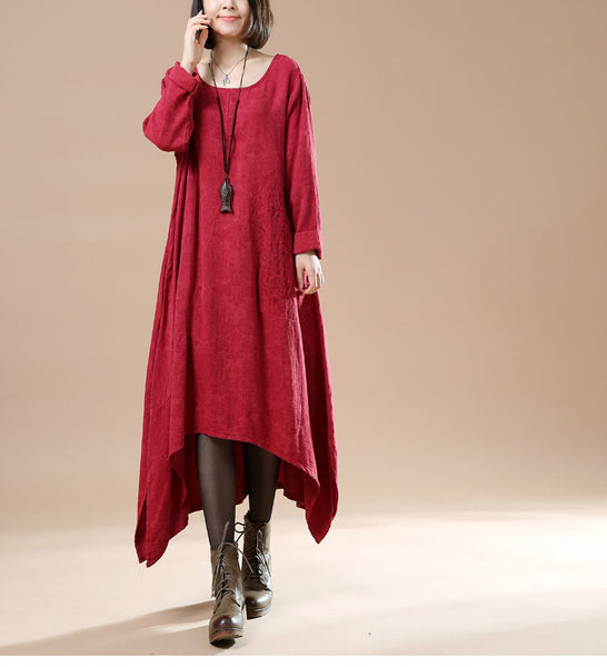 Women Autumn Round Neck Long Sleeve Cotton Linen Red wine Dresses