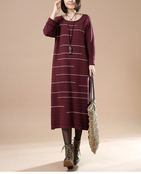 Women Autumn Round Neck Long Sleeve Striped Casual Long Sweater Red Wine