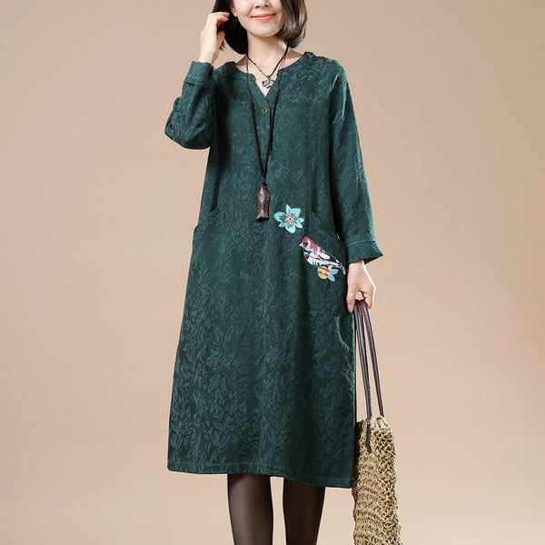 Autumn Large Size Women's Casual Long Sleeved Embroidered Long Dress - Buykud