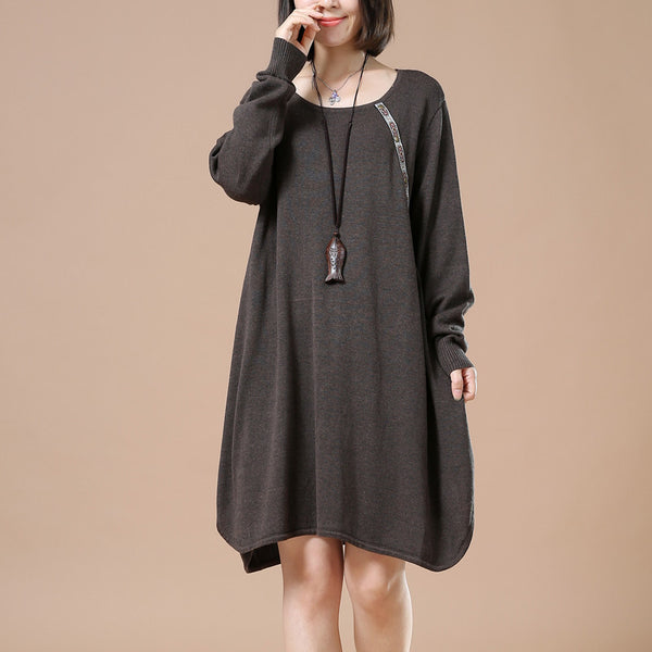 Women Retro Casual Sweater Dark Brown Autumn Long Sleeve Dress