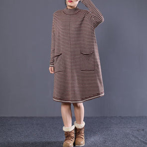 Women Long Sleeve Striped Coffee Black Sweater Dress