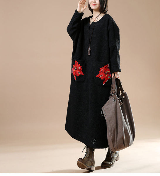 Autumn Plus Size Round Neck Long Sleeve Woolen Jacket Embroidered Casual Dress