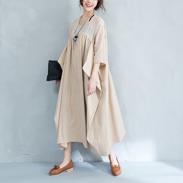 Irregular Splicing Casual Loose Women  Khaki Dress