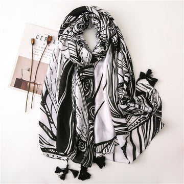 Tassel Black White Graffiti Shawl Scarf
