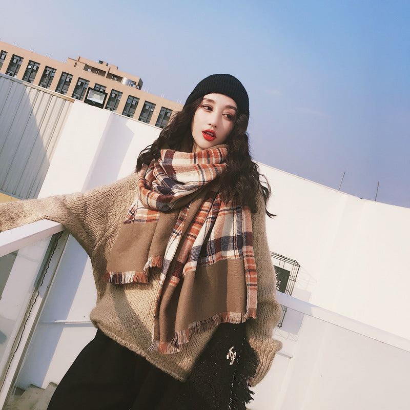 Tassel Plaid Casual Warm Comfortable Scarf
