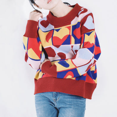 Thick Female Loose Multicolor Heart Shape Sweater