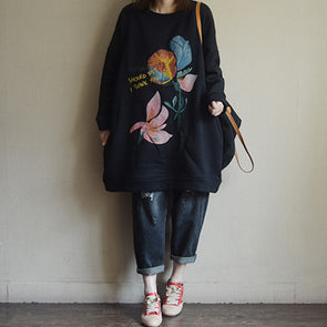Thick Fleece Long Flower Black Sweatshirt