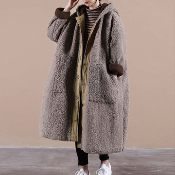 Thicken Pocket Hooded Warm Lambswool Coat