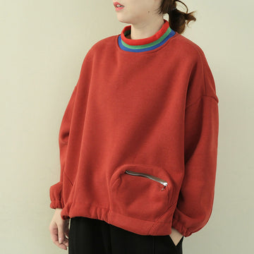Thicken Rainbow Turtleneck Zipper Pocket Sweatshirt