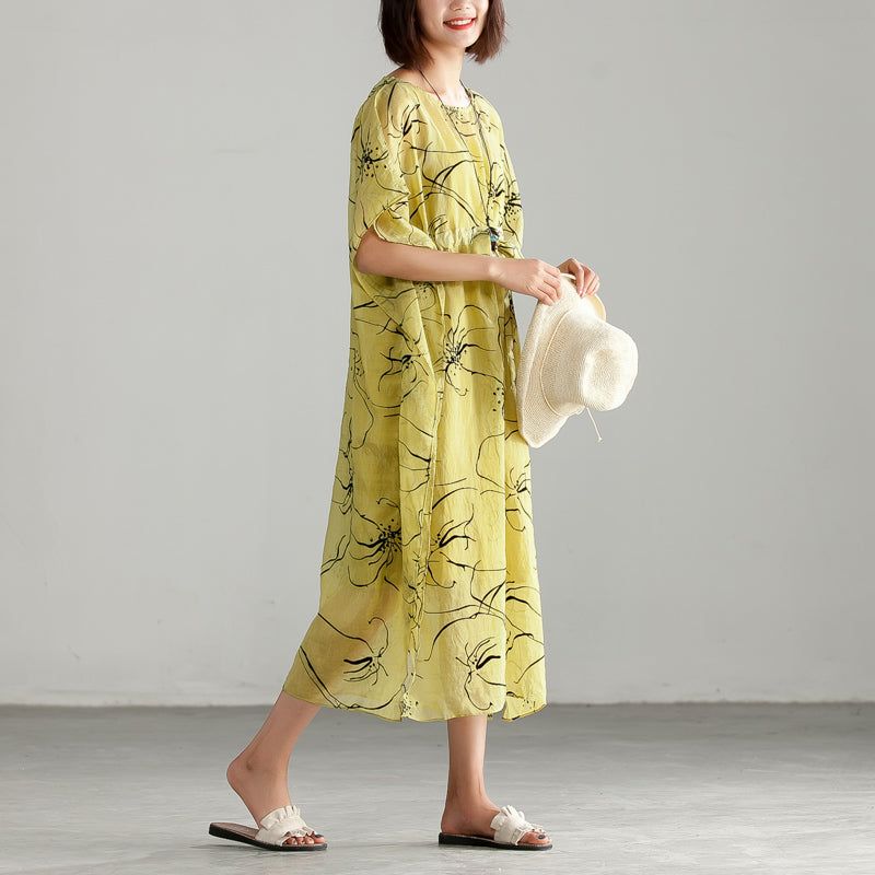 Thin Round Neck Printing Split Dress with Vest