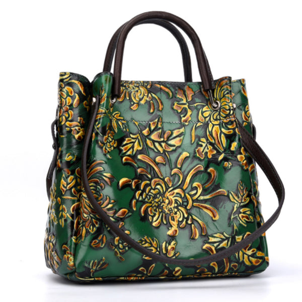 Three-Dimensional Embossing Floral Shoulder Bag