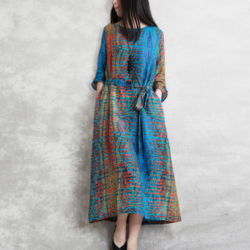 Three Quarter Sleeve Bohemian Printed Dress