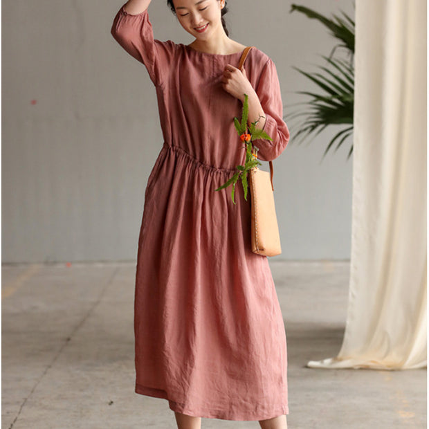 Three Quarter Sleeve Pure Color Plus Size Dress