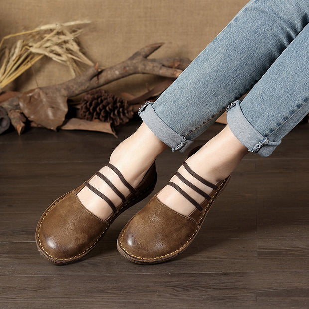Three Straps Women Flat Leather Shoes