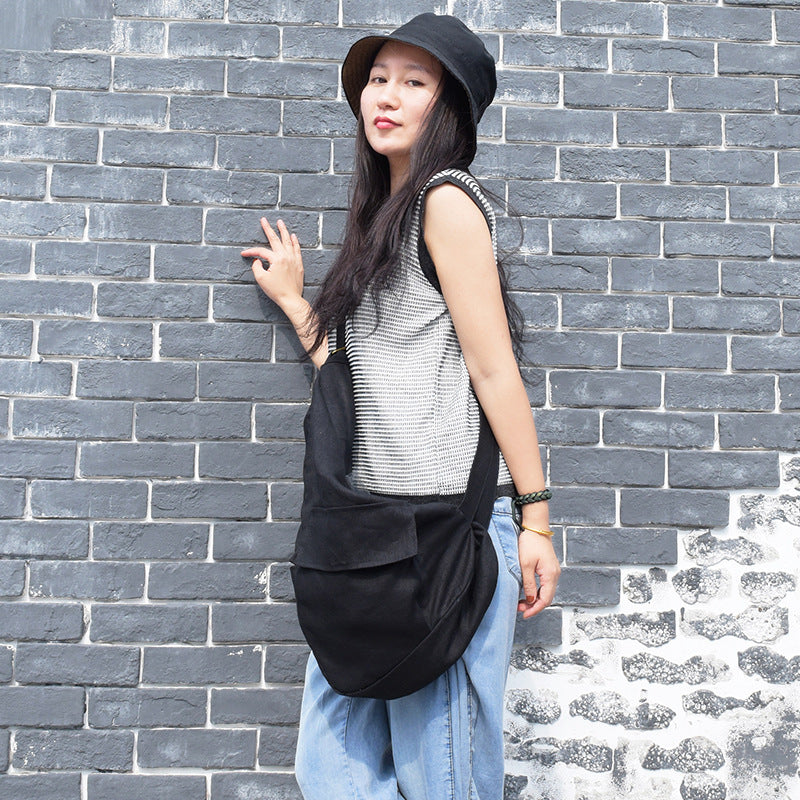 Travel Pure Color Linen Half Moon Chest Bag