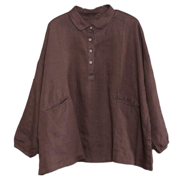 Turn-Down Collar Loose Cotton Linen Blouse