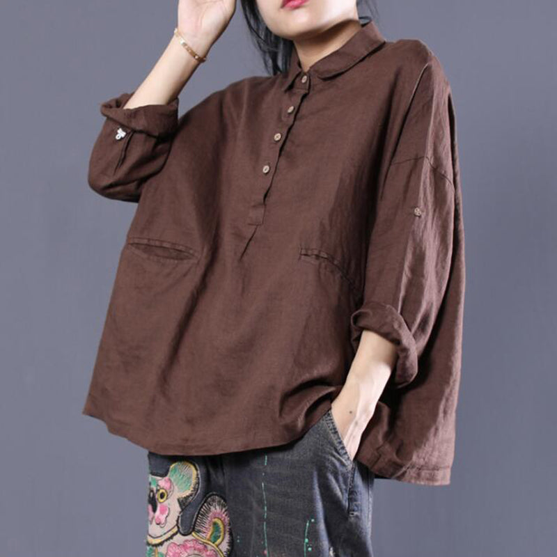 a83c7777aa6ac7 Turn-Down Collar Loose Cotton Linen Blouse
