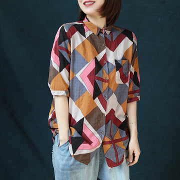 Turn-down Collar Geometric Printed Cotton Shirt