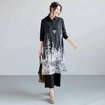 Turn-down Collar Casual Printed Long Shirt