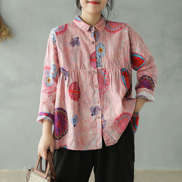 Turn-down Collar Printed Linen Shirt