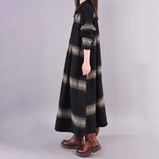 Turn-down Collar Stripe Retro Warm Dress