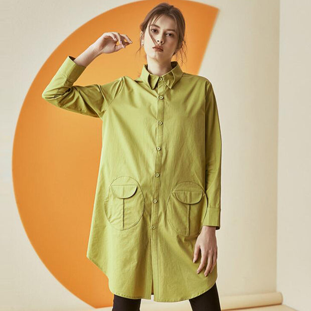 Turndown Long Sleeve Button Up Blouse for Women