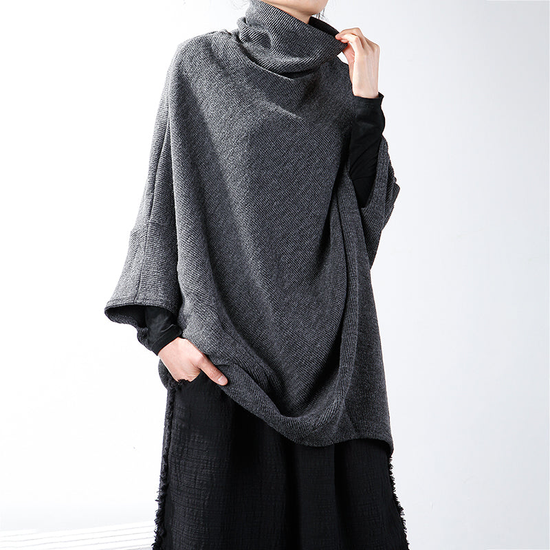 Plus Size - Turtleneck Batwing Sleeve Loose Sweater