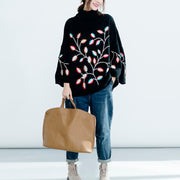 Turtleneck Embroidery Black Knit Loose Sweater