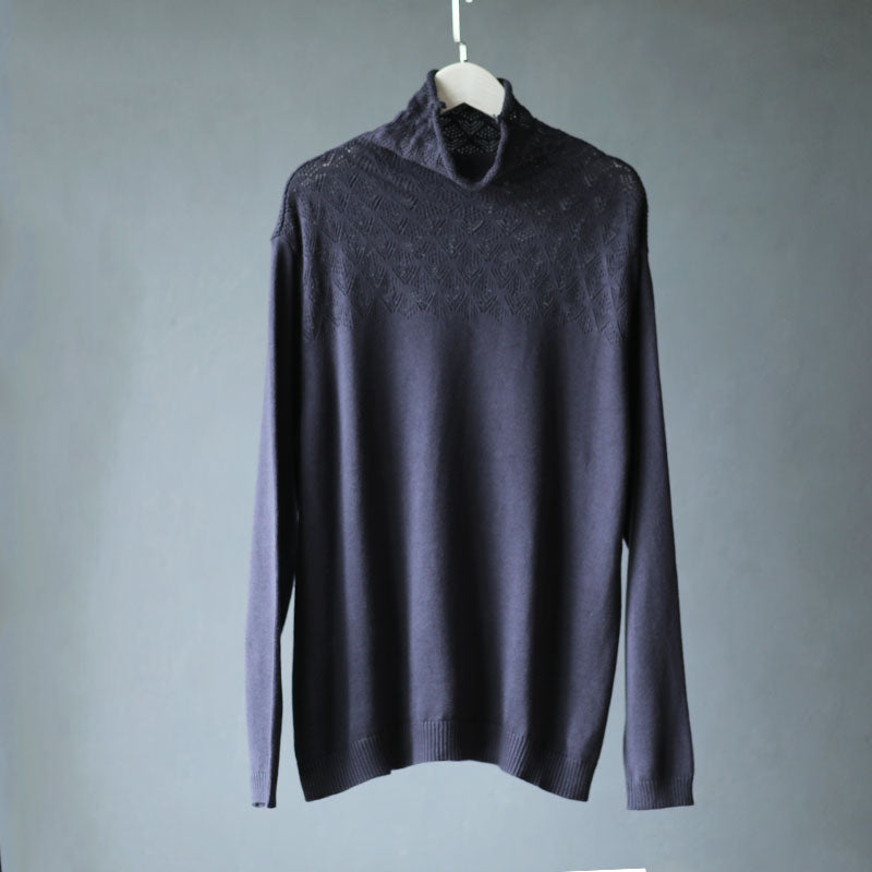 Turtleneck Hollow Out Casual Stretch Sweater