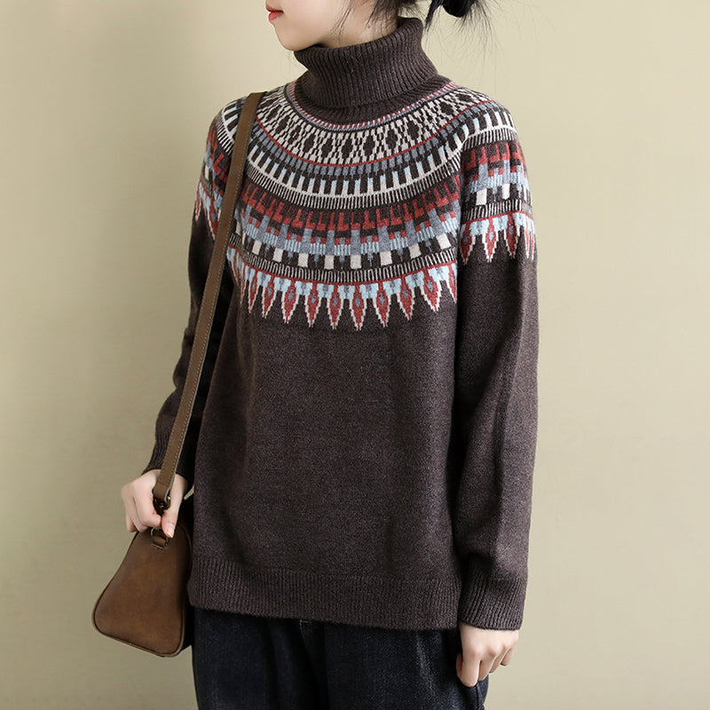 Turtleneck Jacquard Casual Thermal Sweater