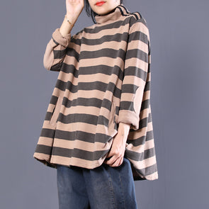 Turtleneck Long Sleeve Stripe Patchwork Top