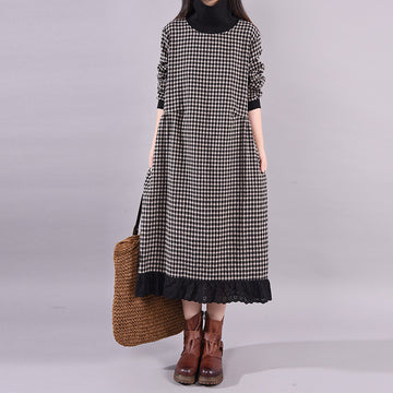 Turtleneck Plaid Lace Spliced Loose Dress
