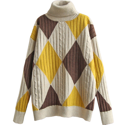 Turtleneck Rhombus Pullover Knitted Women Vintage Sweater