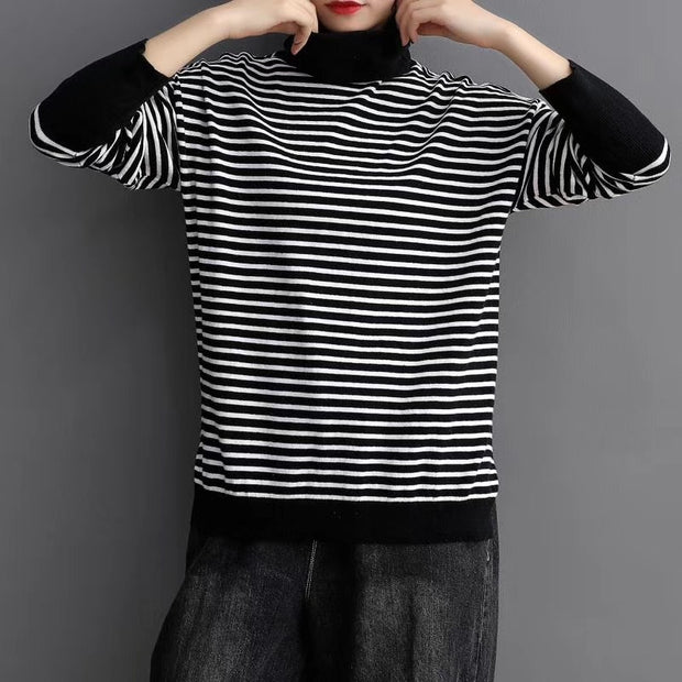 Turtleneck Spliced Stripe Casual Knit Shirt