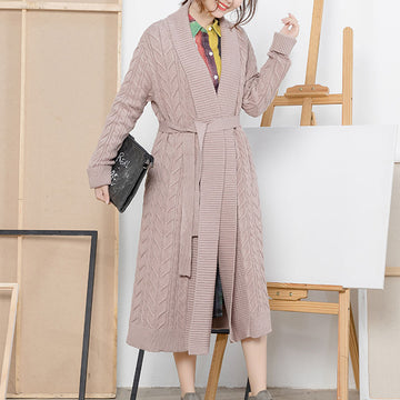 Twist Long Female Solid Cotton Cardigan