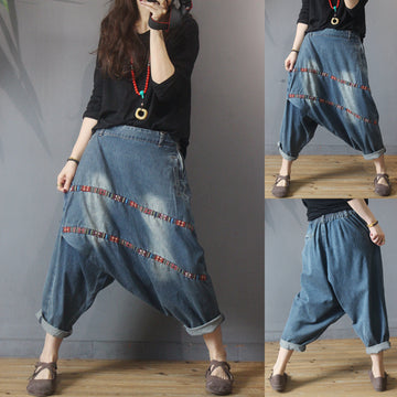Two Striped Patchwork Retro Low-cut Crotch Jeans
