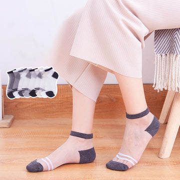 Two Stripes Transparent Thin Socks For Women (5 Pairs)