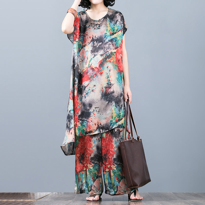 31a8b45bf9d4f Two Pieces Set Printed Silk Top Wide Leg Pants