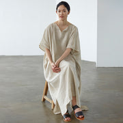 Ultra-Loose Pure Color Graceful Linen Dress