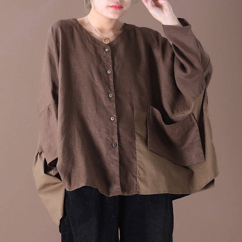Ultra-loose Splicing Pure Color Single Breasted Shirt