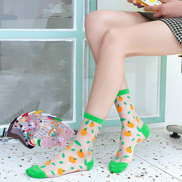Ultra-thin Geometric Jacquard Crew Socks For Women (5 pairs)