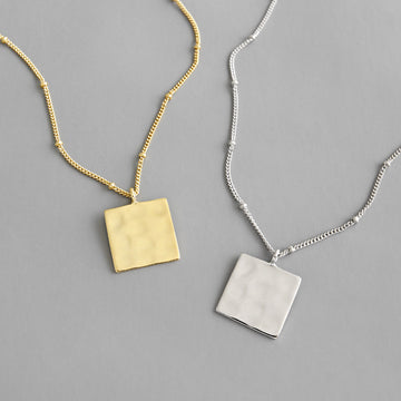 Uneven Square Silver Necklace For Women